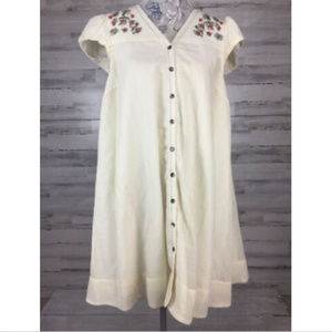 Meadow Rue Anthro Dress Sz 8 Button Up Cream Wool